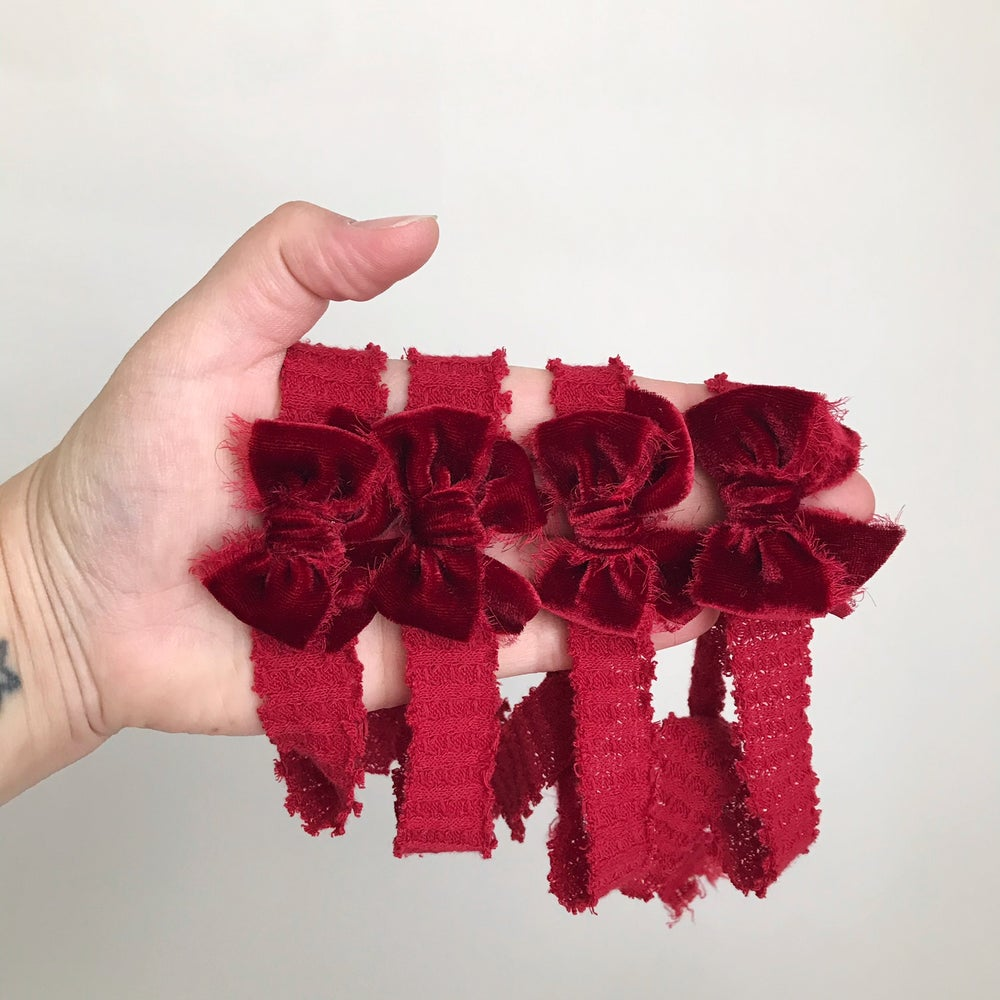 Image of Red Velvet Bow on Red Waffle