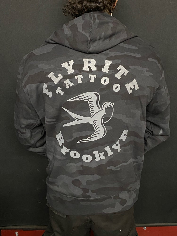 Image of FLYRITE ZIP BLACK CAMO HOODED SWEATSHIRT
