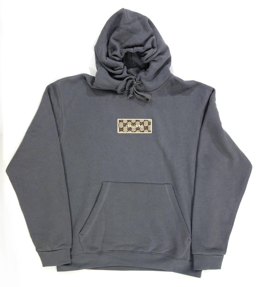 Image of Box Logo Custom Hoodie Grey (Blue GG)
