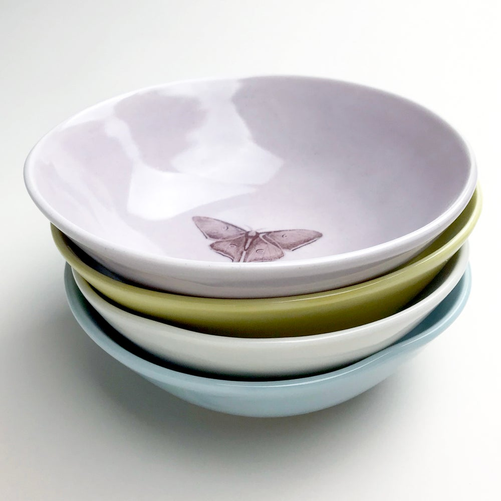 Image of soup bowls, set of four, luna moth, hummingbird, butterfly, bumblebee