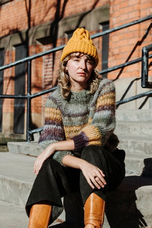 Image of Omemee Cable Toque (shown Alpaca wool in Ochre)