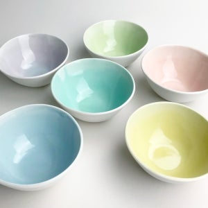 Image of ice cream bowls, set of six, summer fun colors