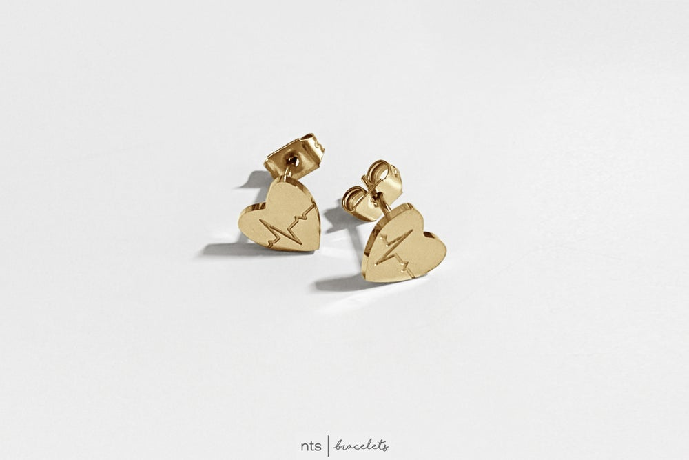 Image of  EKG HEART EARRINGS (Limited Edition + Gold)