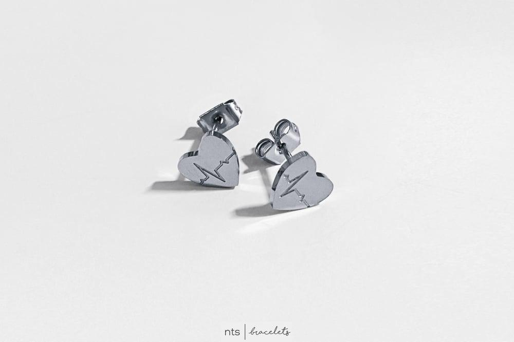 Image of EKG HEART EARRINGS (Limited Edition + Silver)
