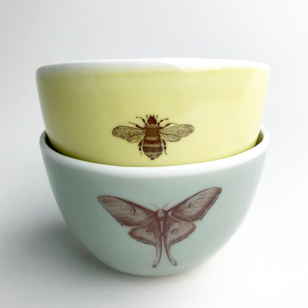 Image of roly soup/cereal/yogurt bowls, set of two, with luna moth and bumblebee