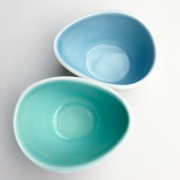 Image of pebble bowls, set of two, aqua and ocean