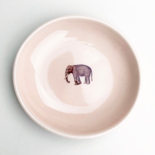 Image of jewelry dish with elephant, rose