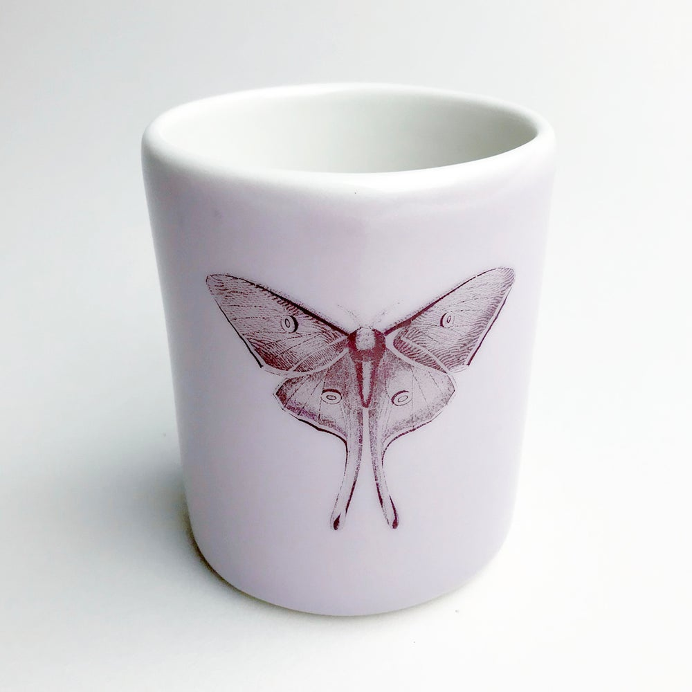 Image of 10oz tumbler with luna moth, lilac
