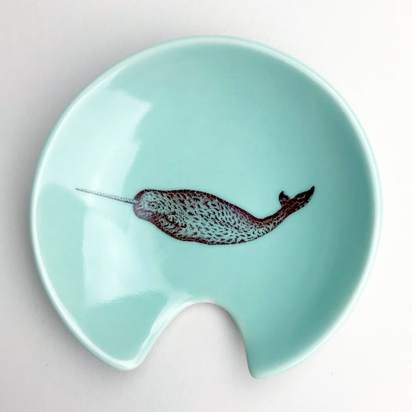 Image of spoon holder with narwhal, aqua