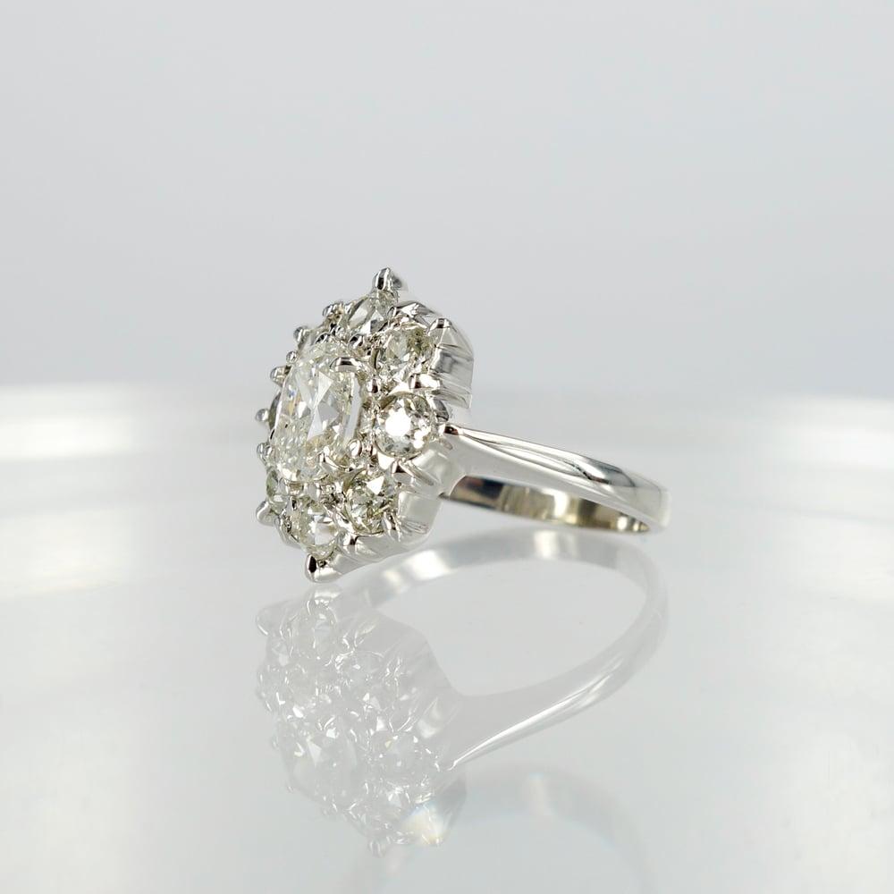 Image of Oval European old cut diamond dress ring.Sp5