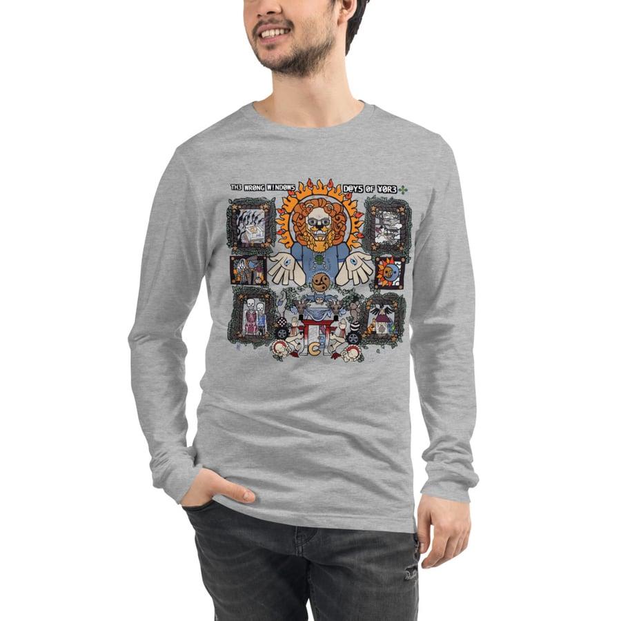 "Image of ""Days of Yore"" Unisex Long-Sleeve T-Shirt (Vinyl Slipcase Simulacrum  w/ Front & Back JJJ Paintings)"