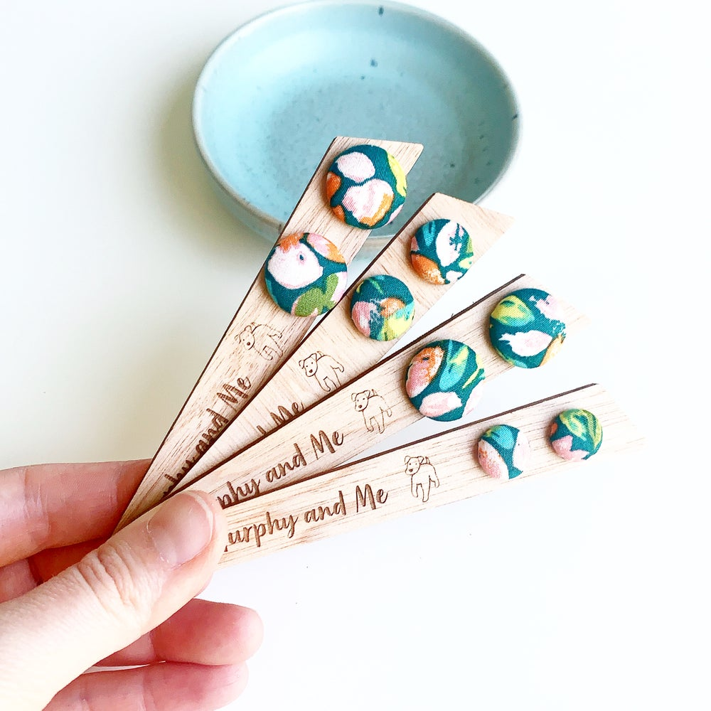 Image of Teal Garden Fabric Studs