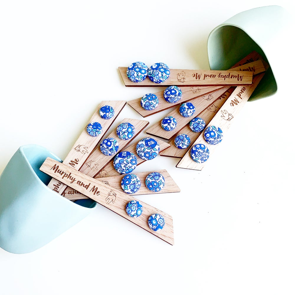 Image of Country Floral Fabric Studs