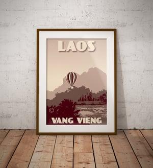 Image of Vintage poster Laos - Vang Vieng - Air balloon - Clay - Fine Art Print