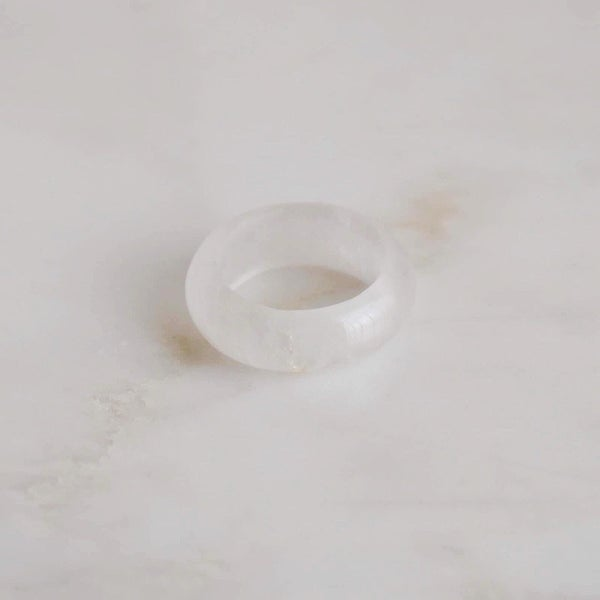 Image of Natural Clear Quartz antique style band ring