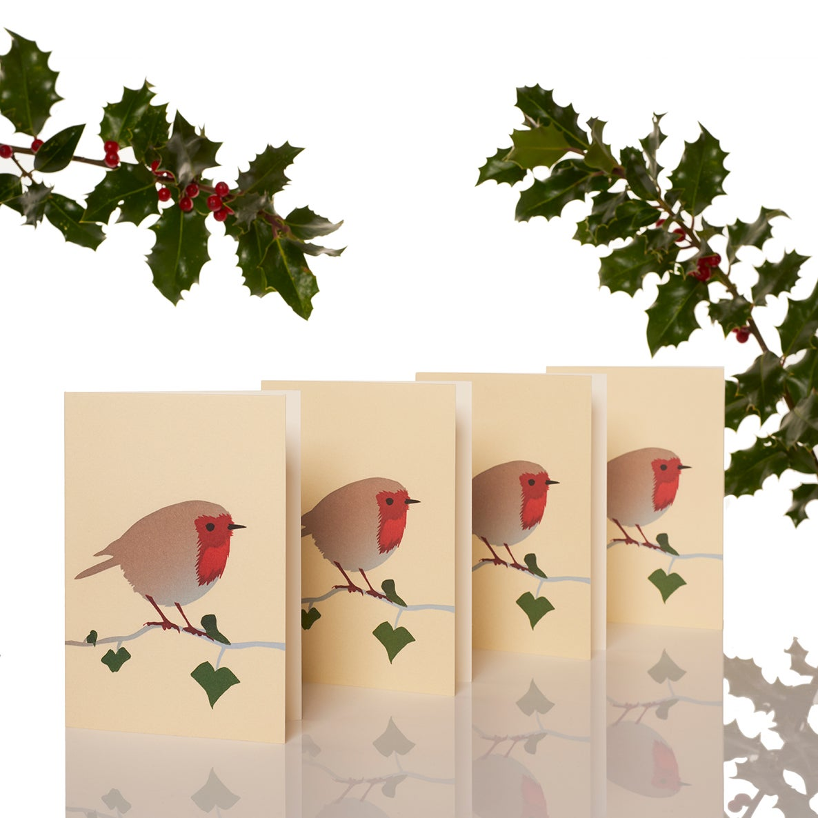 Image of Pack of four robin cards