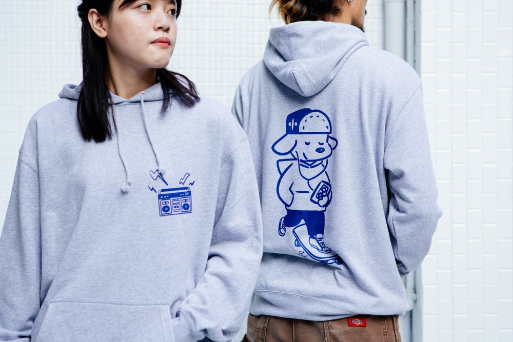 Image of 'Skateboarding with John' Hoodie - Grey