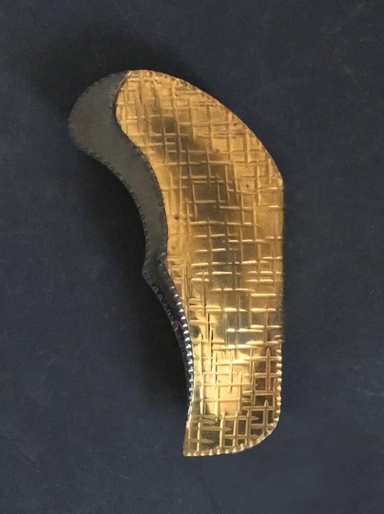 Image of Italian Door Handle of Hammered Brass and Blackened Copper