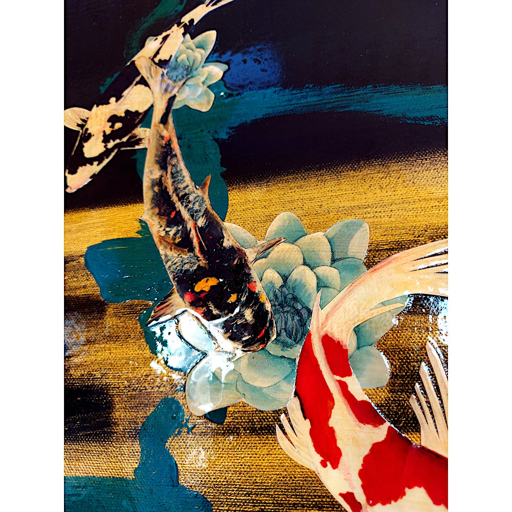 "Image of Original Canvas - Koi on Black/Gold/Teal - 11"" x 14"""