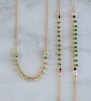 Image of Clandestine - Bracelet India 3 tours/collier simple  - Verts