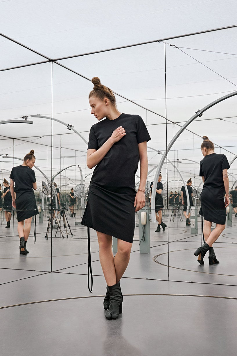 Image of Shift Dress - Organic Cotton - Dark grey melange
