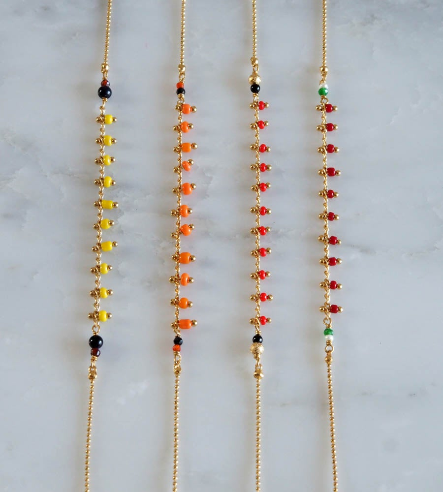 Image of Bracelet India 3 tours/collier simple - Jaune/Rouges