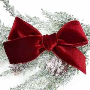 Image of Oversized Red Velvet Ribbon Bow