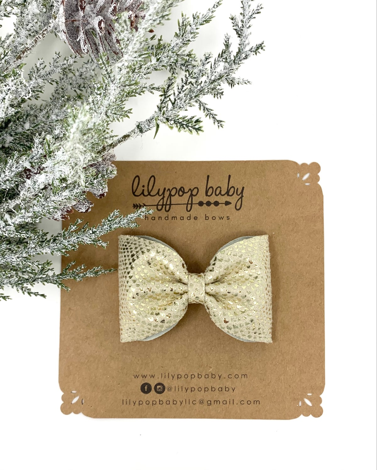 Image of Gold Printed Metallic Ava Bow