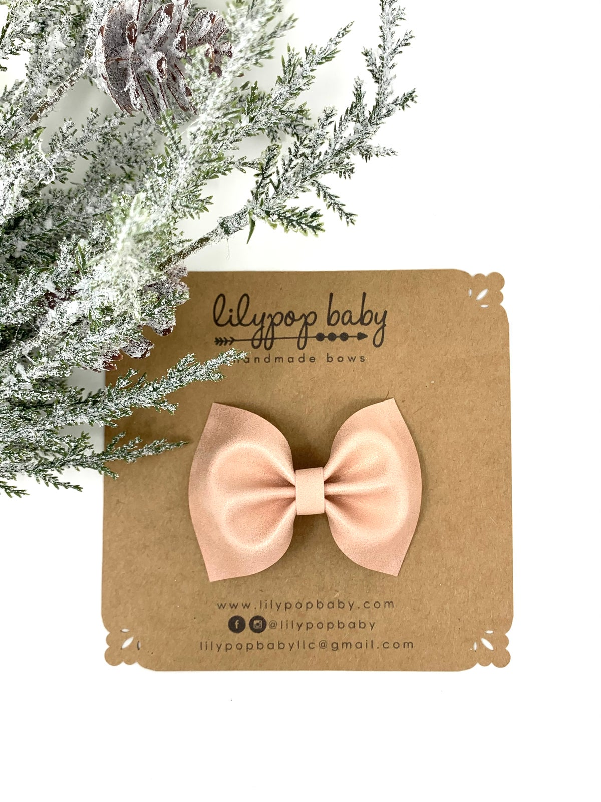 Image of Pink Shimmer Faux Leather Ava Bow