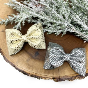 Image of Silver Metallic Printed Ava Bow