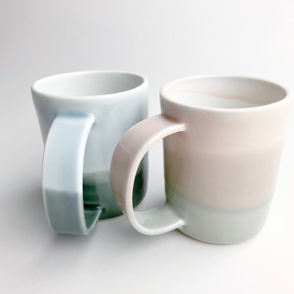 Image of set of two 10oz mugs, sunrise watercolor