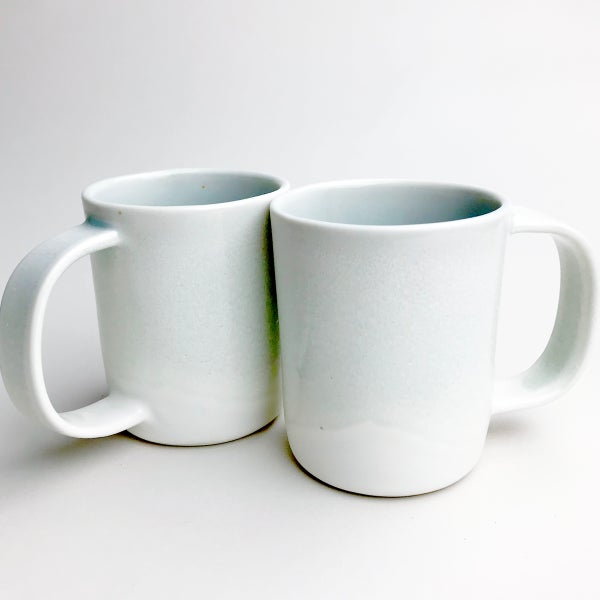 Image of set of two 10oz mugs, pale celadon watercolor