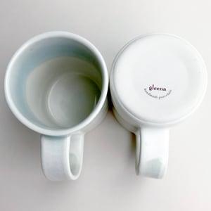 Image of set of two 10oz mugs, pale celadon watercolor