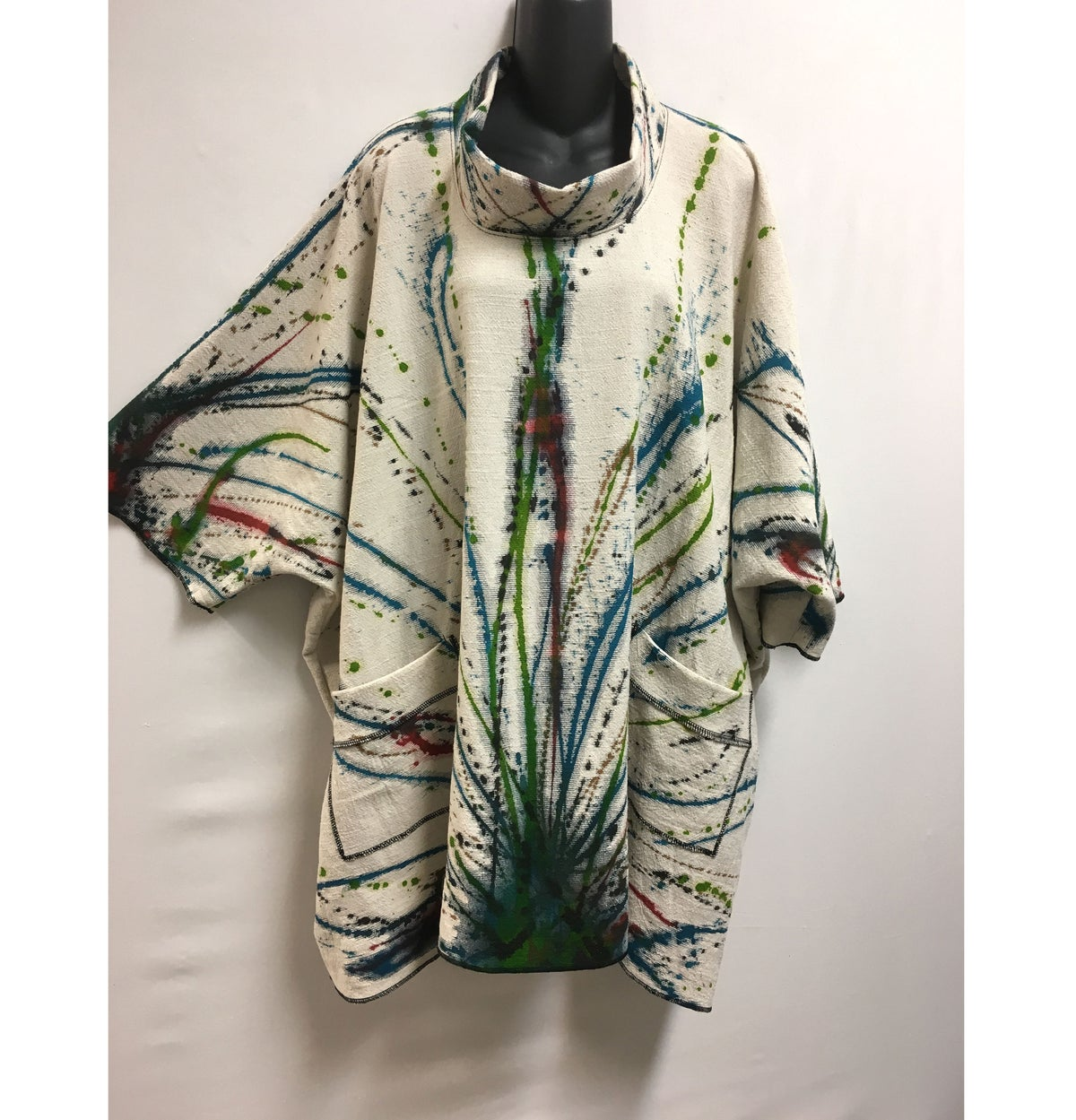 Image of Donna Tunic - 90%Cotton/10%Linen - Hand Painted Burst of Joy Design