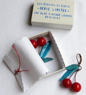 Image of Boucles Cerises Série Limitée Blue Vintage - Fantaisie