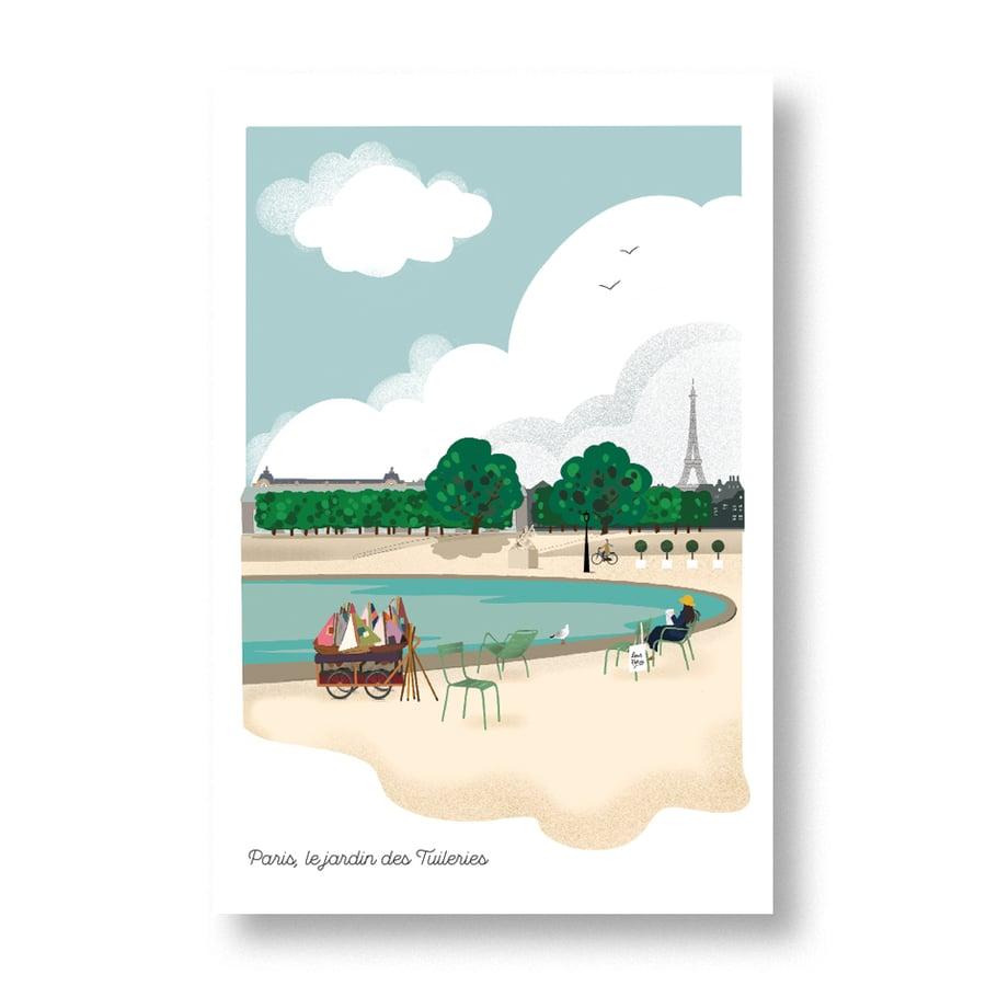 """Image of Carte postale """"Paris, le jardin des tuileries"""""""