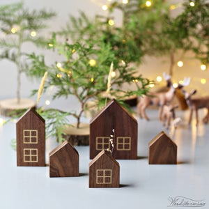 Image of Christmas home decorations - miniature houses for display and hanging - set of 8