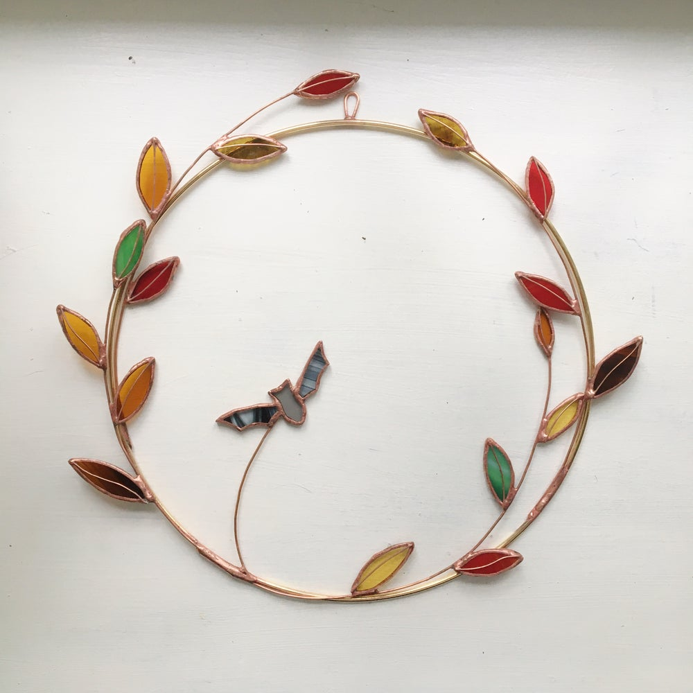 Image of Autumnal Leaf Wreath with Bat