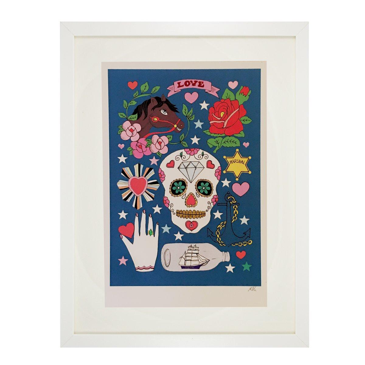 Mexican Sugar Skull Glitter Decorated Print