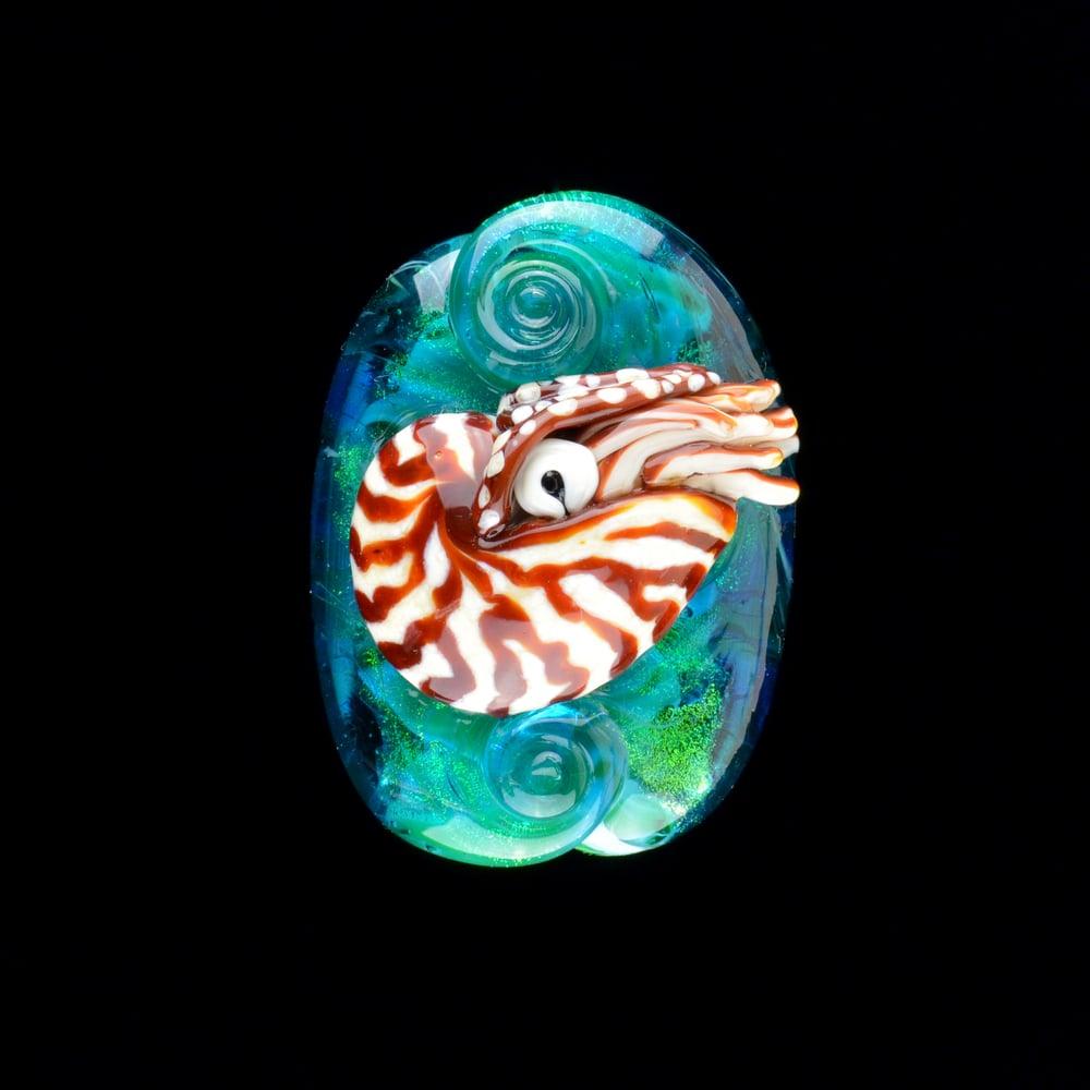 Image of XL. Swimming Nautilus - Flamework Glass Sculpture Bead