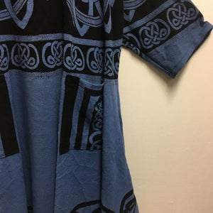 Image of Caftan-Dress - Blue Celtic - Hand woven - Hand Block Printed Cotton