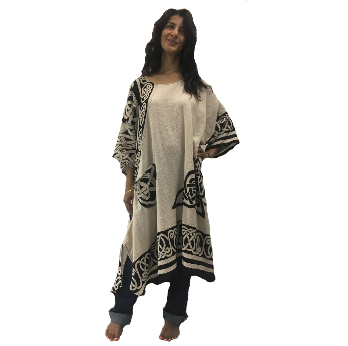 Image of Celtic Tunic/Dress - Cotton - Hand woven - Hand Block Printed