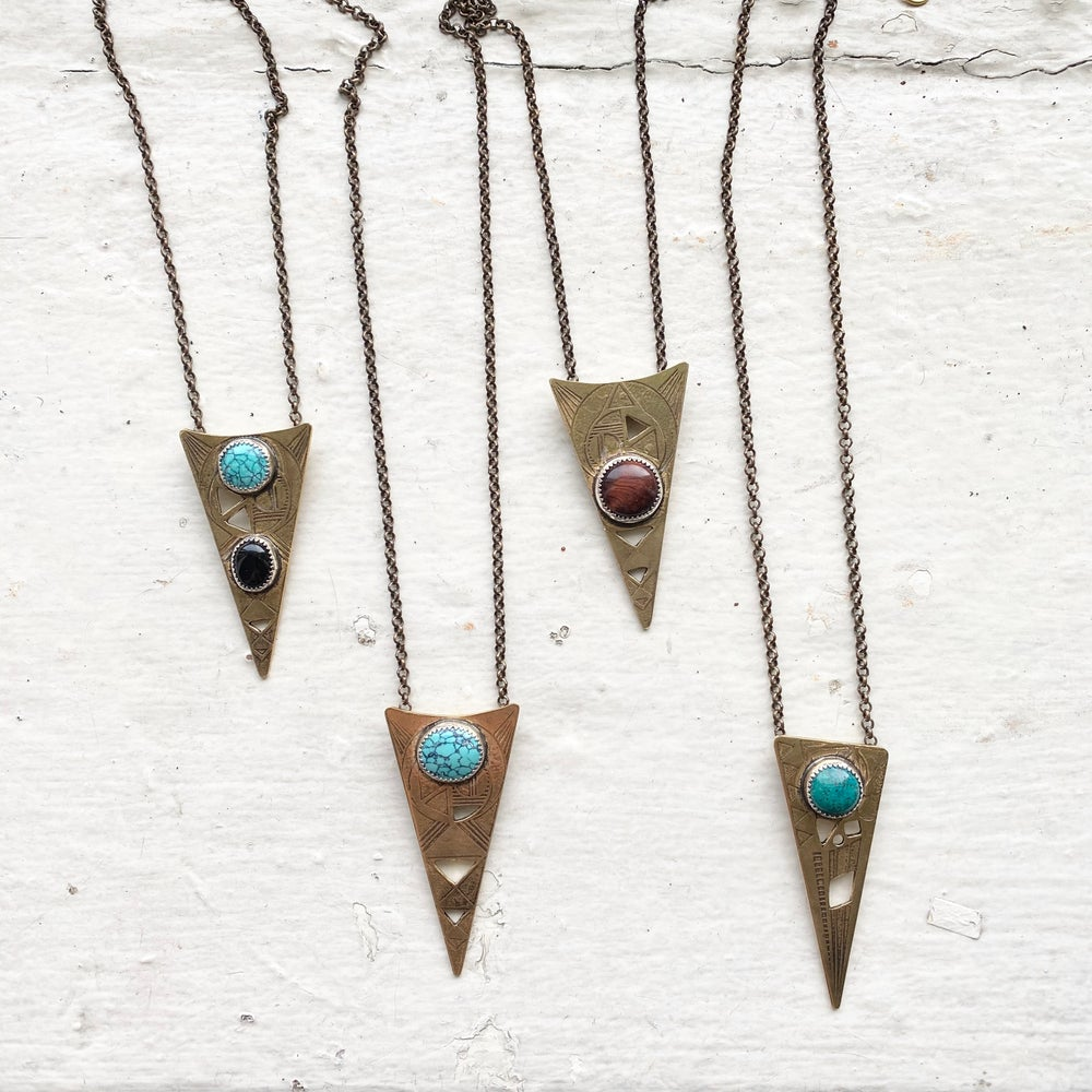 Image of Triangle pendant with turquoise stone