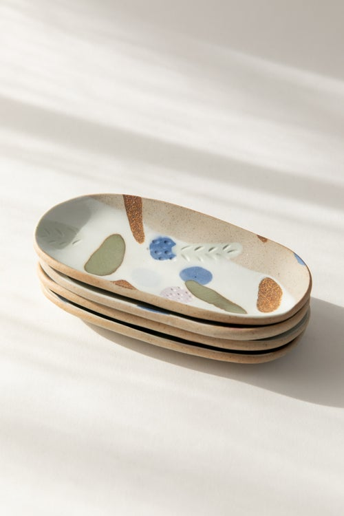 Image of Small Oval Jewelry Dish -  Berry Tart