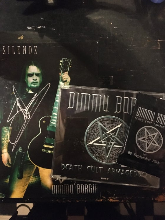 Image of Dimmu Borgir promo cd signed card