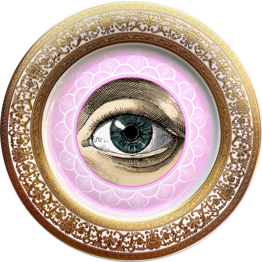 Image of Lover's Eye - Pink - Fine China Plate - #0737
