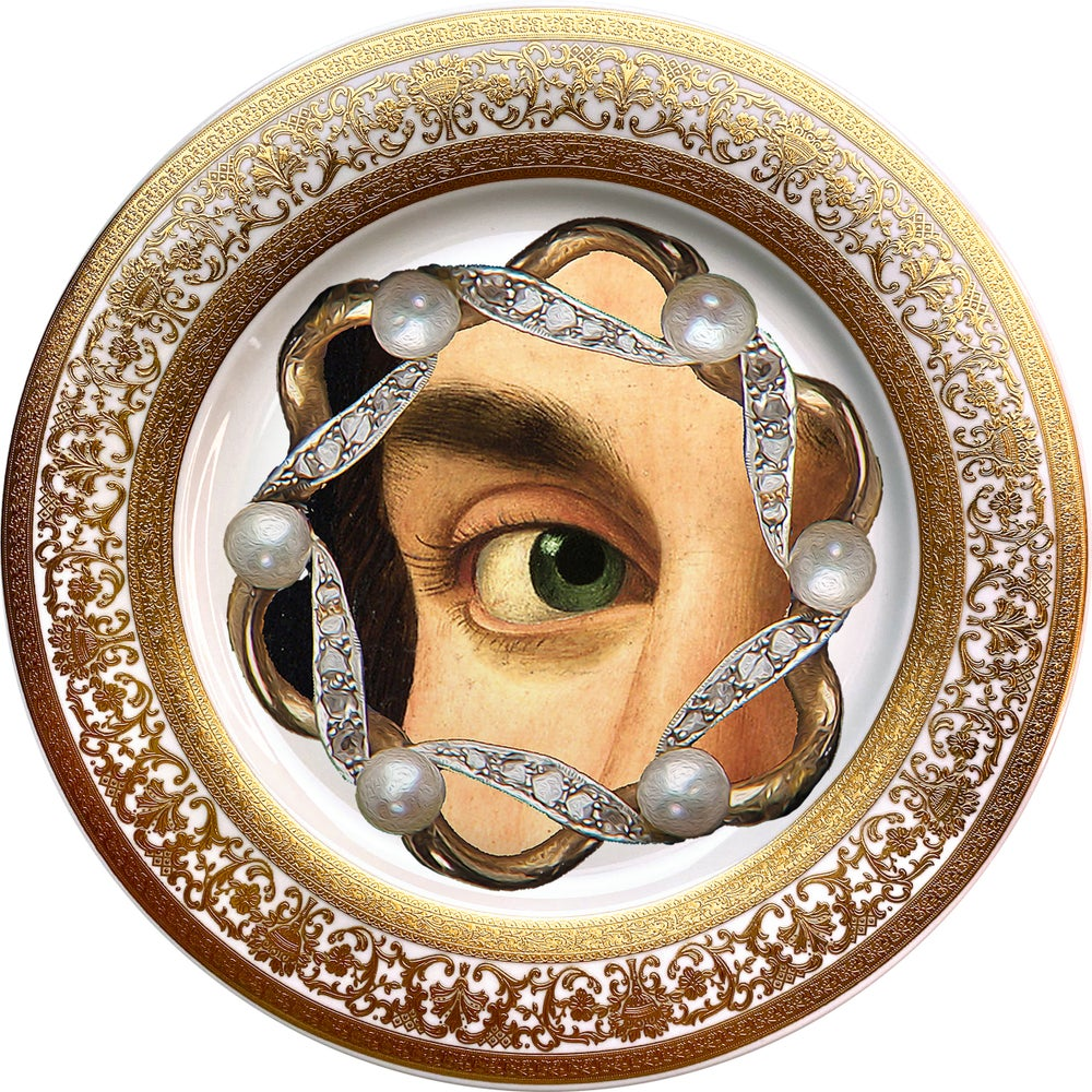 Image of Lover's Eye - Pearls - Fine China Plate - #0737