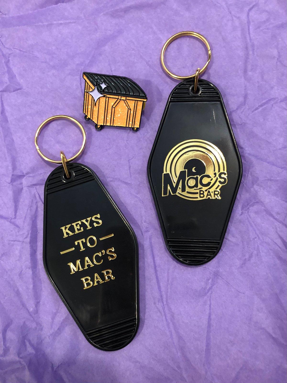 """Keys to Mac's Bar"" Motel style keychain"