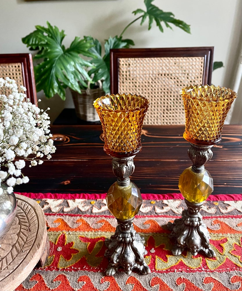 Image of Pair of Vintage Lucite and Metal Candlestands in Amber with Diamond cut amber votives