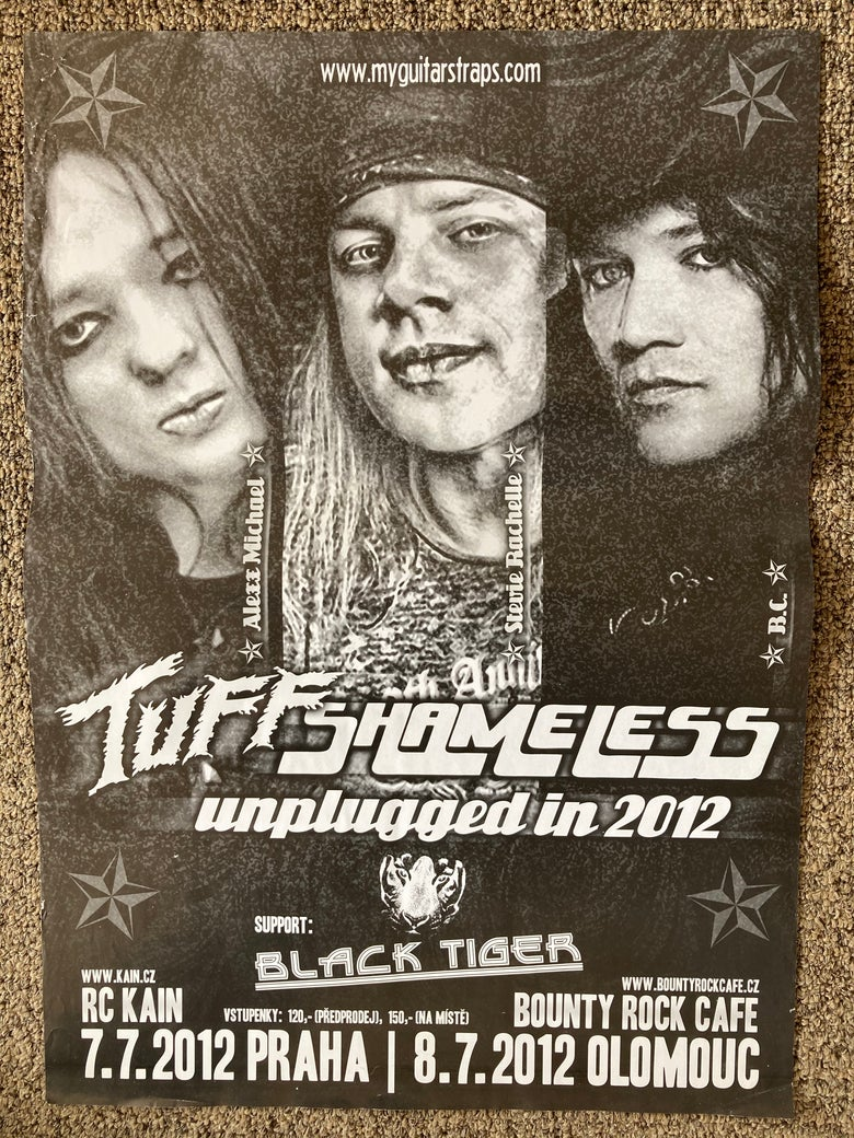 Image of Shameless Tuff wall poster Prague Czech Republic Tour 2012 Stevie Rachelle Glam